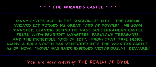 Wizard's Castle intro